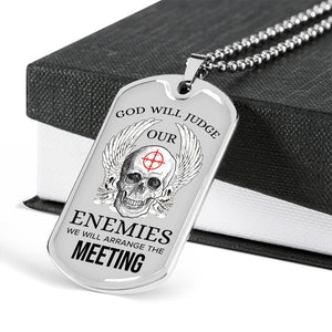 "God Will Judge Necklace Stainless Steel or 18k Gold Military Dog Tag w 24"" Ball Chain Express Your Love Gifts"