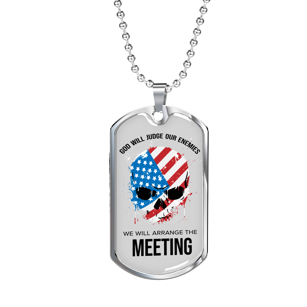 Express Your Love Gifts God Will Judge Our Enemies Dog Tag Pendant Necklace Military Chain (Silver) / No