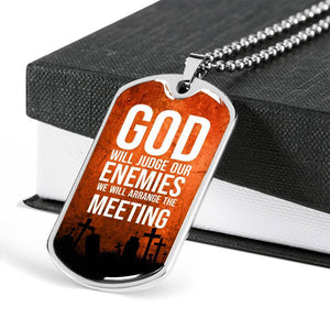 "God Will Judge Our Enemies Necklace Stainless Steel or 18k Gold Military Dog Tag w 24"" Ball Chain Express Your Love Gifts"
