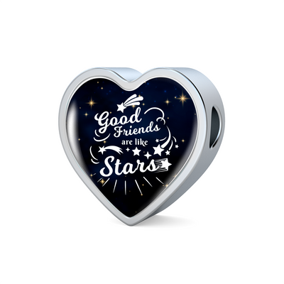 Express Your Love Gifts Good Friends are Like Stars Heart Charm Bracelet Heart Charm Only