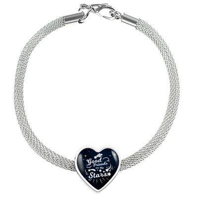 Express Your Love Gifts Good Friends are Like Stars Heart Charm Bracelet