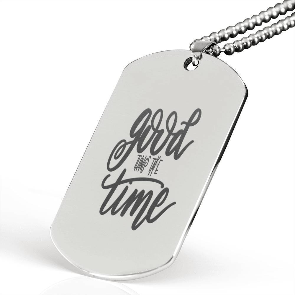 "Good Things Inspirational Encouragement Quote Necklace Stainless Steel Dog Tag w 24"" Ball Chain Express Your Love Gifts"