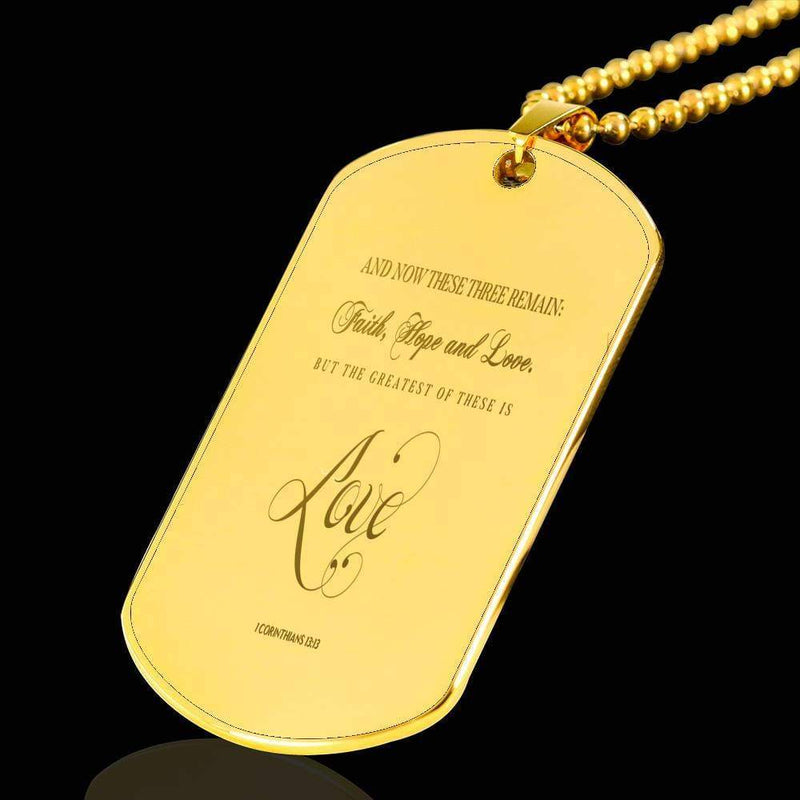 "Greatest is Love Corinthians Bible Verse Necklace 18k Gold Stainless Steel Dog Tag 24"" w Ball Chain Express Your Love Gifts"