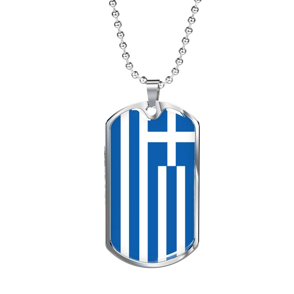 "Greece Flag Necklace Greece Flag Stainless Steel or 18k Gold Dog Tag 24"" - Express Your Love Gifts"