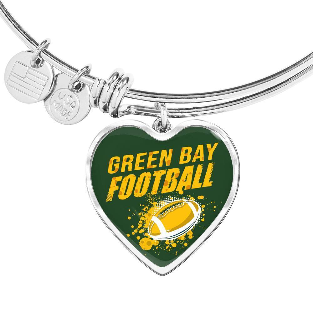 Express Your Love Gifts Green Bay Fan Football Gift Heart Bracelet Bangle