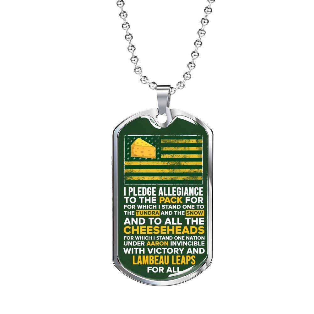 Express Your Love Gifts Green Bay Fan Gift Pledge Cheeseheads Dog Tag Necklace