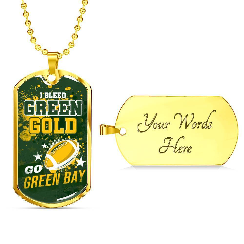 Express Your Love Gifts Green Bay Football Dog Tag Pendant Necklace Military Chain (Gold) / Yes