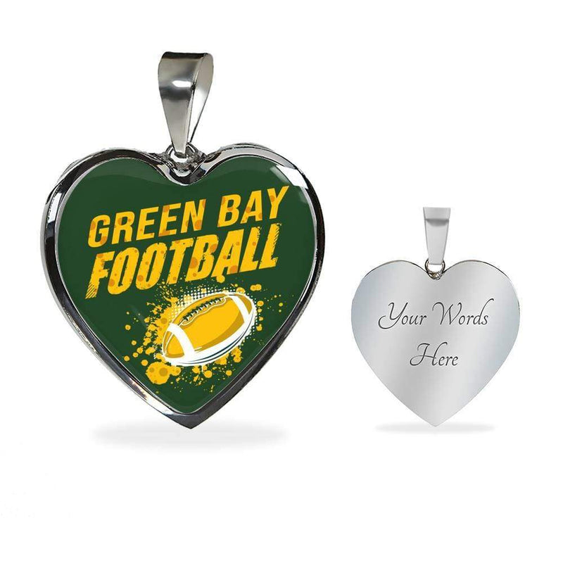Green Bay Football Heart Pendant Necklace or Bracelet Bangle Express Your Love Gifts