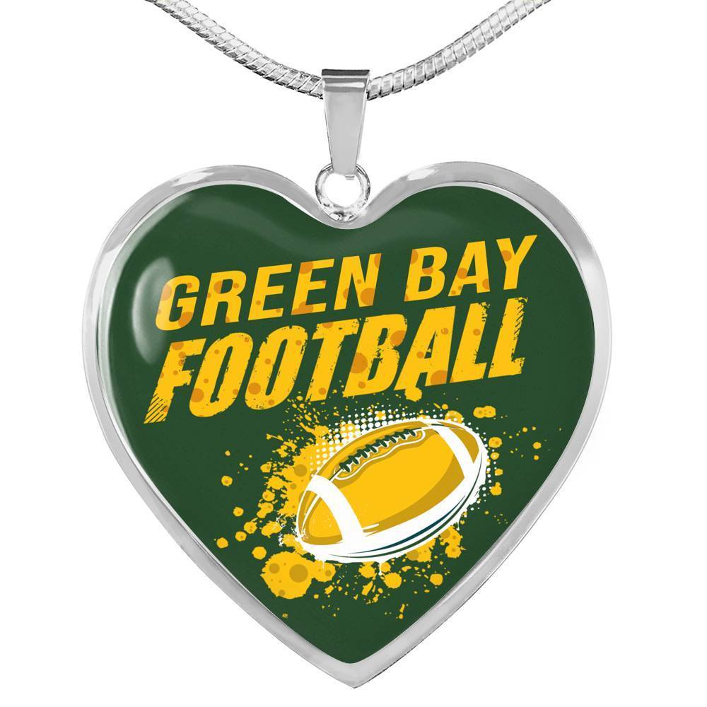 Express Your Love Gifts Green Bay Sports Fan Jewelry Gift Heart Pendant Necklace