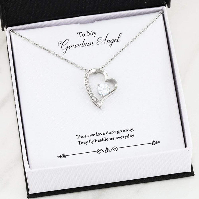 "Guardian Angel Remembrance Necklace 18k Gold Finish or Stainless Steel 18"" CZ Pendant"
