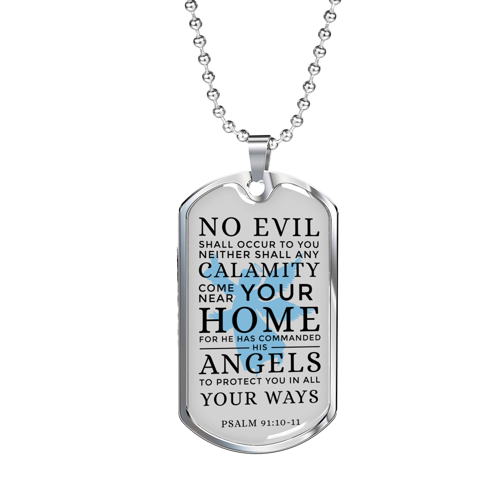 "Guardian Angel Protects Always Christian Faith Psalm Necklace Stainless Steel or 18k Gold Dog Tag w 24"" Chain - Express Your Love Gifts"