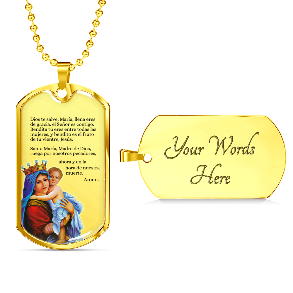 Express Your Love Gifts Hail Mary Catholic Prayer in Spanish -Dios te Salve Dog Tag Necklace Military Chain (Gold) / Yes