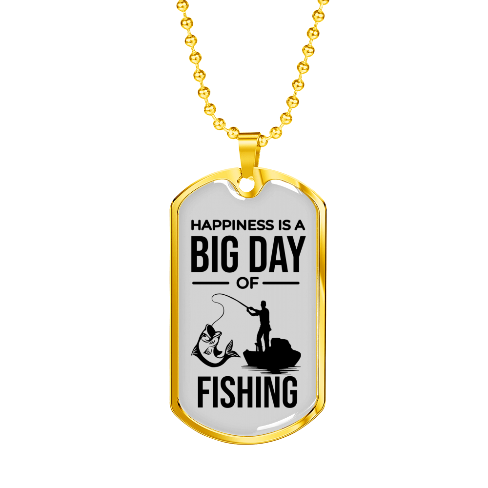 "Happiness Is A Big Day Dad Gift Necklace Stainless Steel or 18k Gold Dog Tag w 24"" Chain - Express Your Love Gifts"