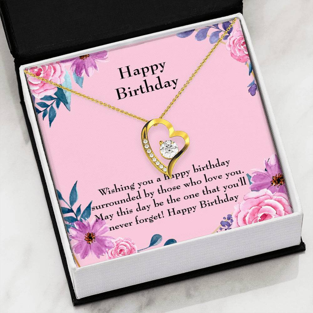 "Happy Birthday CZ Happy Birthday Love Heart Pendant 18k Gold or Stainless Steel 18"" Necklace - Express Your Love Gifts"
