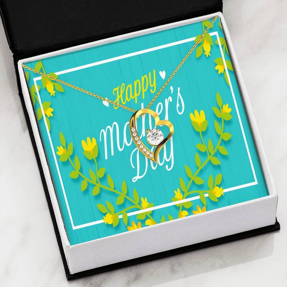 Happy Mother's Day Green Floral Scripted Love Pendant Necklace Message Card Express Your Love Gifts