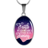 Express Your Love Gifts Have Faith in God's Timing Christian Faith Jewelry Oval Pendant Necklace Luxury necklace w/ adjustable snake-chain