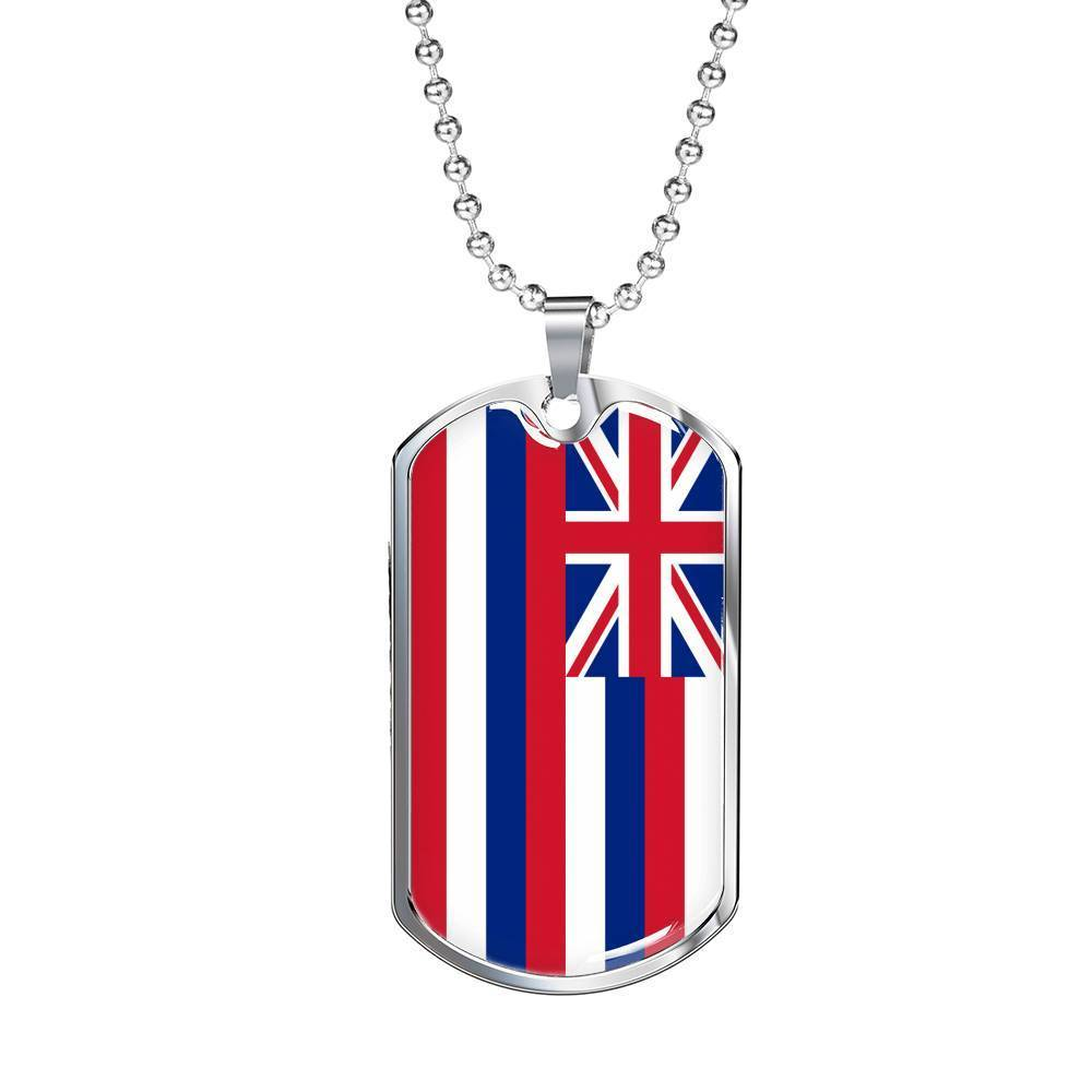 "Express Your Love Gifts Hawaii Flag Handmade Pendant Stainless Steel or 18k Gold Military Dog Tag Necklace w 24"" Ball Chain Military Chain (Silver) / No"