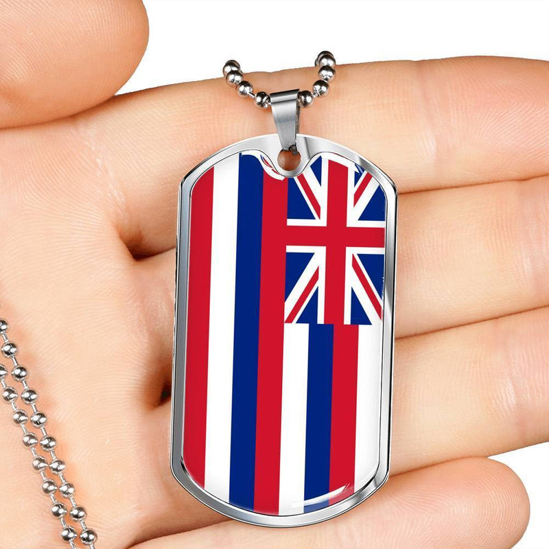 "Hawaii State Flag Necklace Stainless Steel or 18k Gold Dog Tag w 24"" Chain - Express Your Love Gifts"