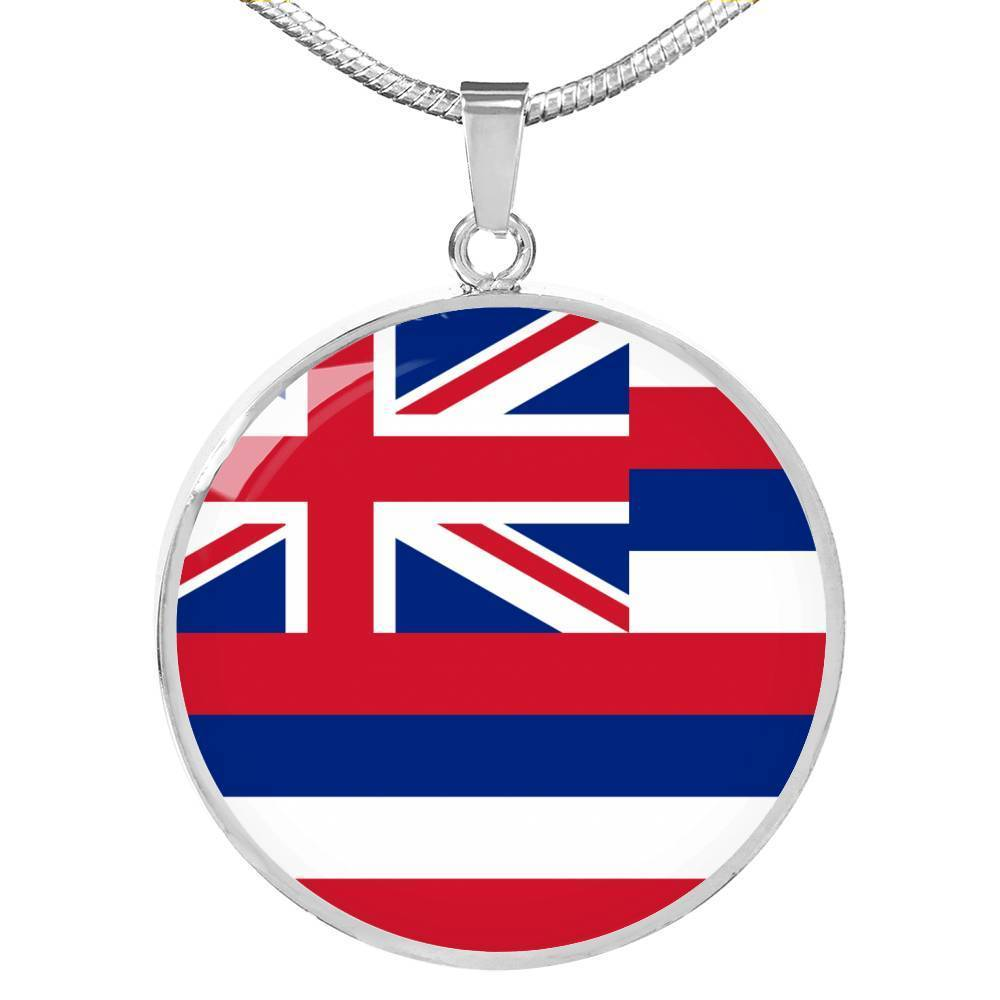 "Express Your Love Gifts Hawaii State Flag Circle Pendant Stainless Steel or 18k Gold Finish Necklace Adjustable 18""-22"" Luxury Necklace (Silver) / No"