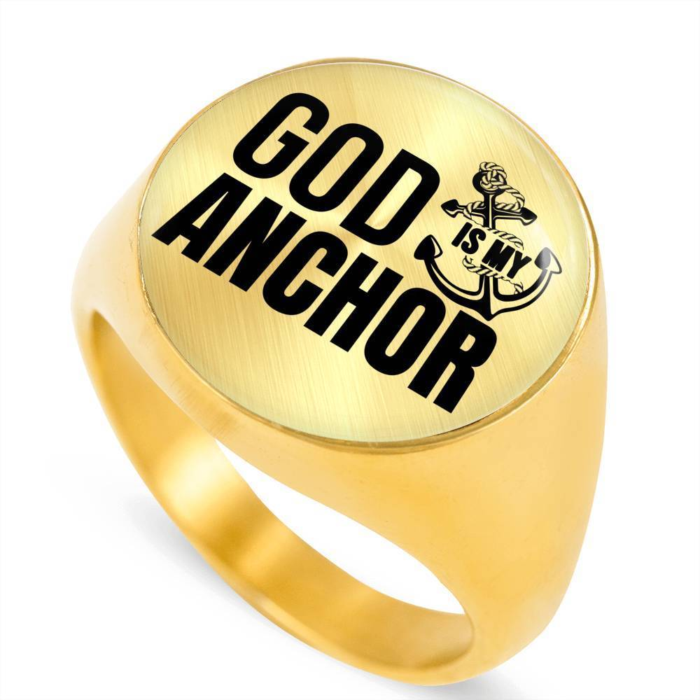 Express Your Love Gifts Hebrews 6:19 God Is My Anchor 18k Gold Finish Circle Signet Ring w Free Luxury Gift Box Size 4
