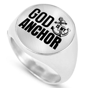 Express Your Love Gifts Hebrews 6:19 God Is My Anchor Stainless Steel Bible Verse Circle Signet Ring Size 4