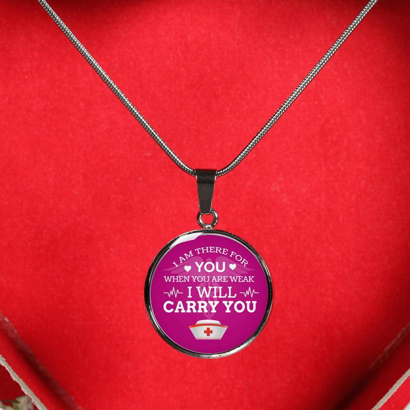 Express Your Love Gifts I Am There For You Nurse Jewelry Gift Circular Pendant Necklace or Bracelet Bangle