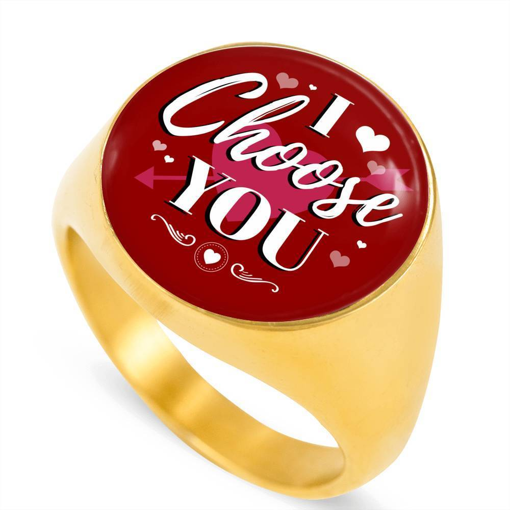 Express Your Love Gifts I Choose You 18k Gold Finish Circle Signet Ring w Free Luxury Gift Box Size 4
