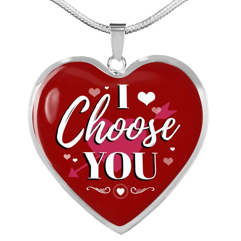 Express Your Love Gifts I Choose You Heart Pendant Necklace