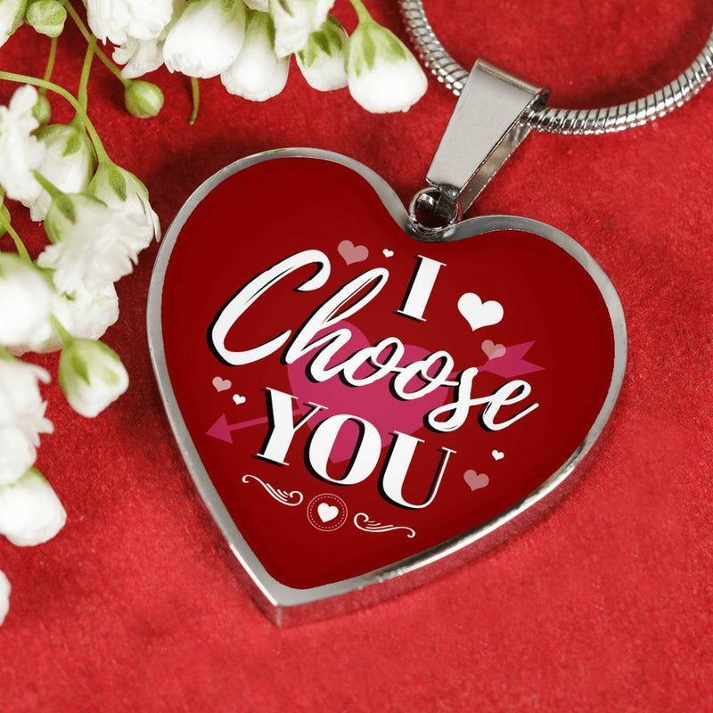 "I Choose You Necklace Stainless Steel or 18k Gold Heart Pendant 18""-22"" - Express Your Love Gifts"