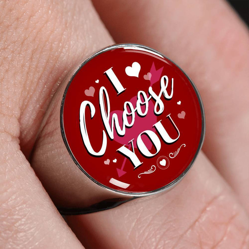 Express Your Love Gifts I Choose You Stainless Steel-Silver Tone Bible Verse Circle Signet Ring w Free Luxury Gift Box Size 4