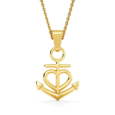 "I'll Hold You in my Heart Anchor Necklace Stainless Steel 16-22"" Adjustable Cable Chain Express Your Love Gifts"