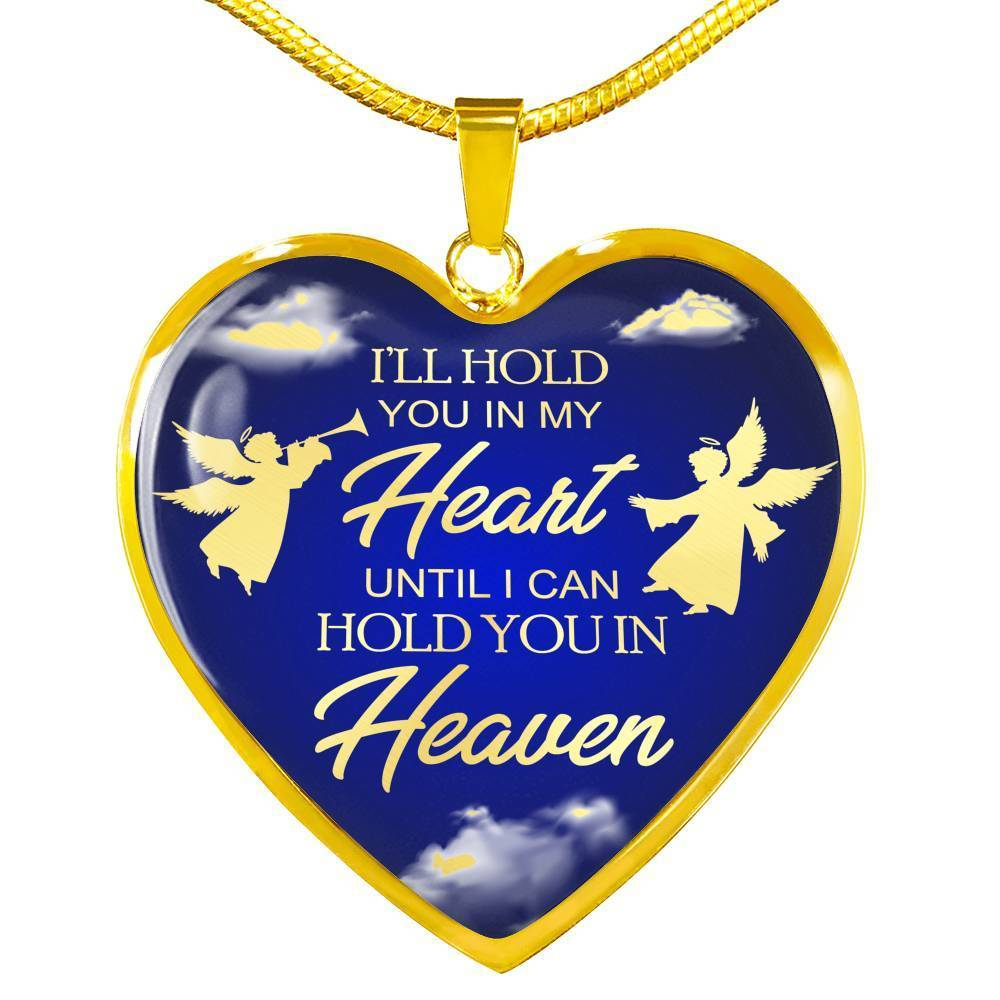 Express Your Love Gifts I'll Hold You In My Heart Remembrance Memorial Jewelry Necklace Pendant Luxury Necklace (Gold) / No