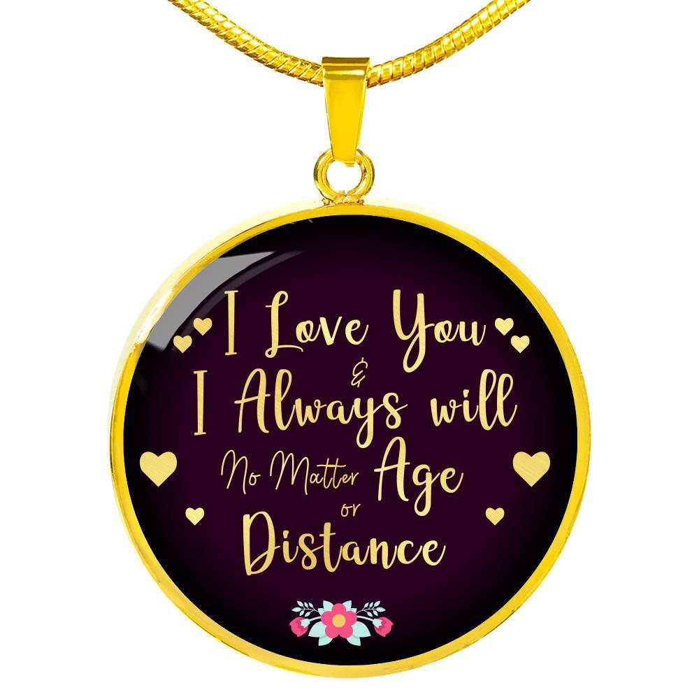 "To My Wife Girlfriend Partner Love You Always 18k Gold Circle Pendant Necklace 18-22"" - Express Your Love Gifts"