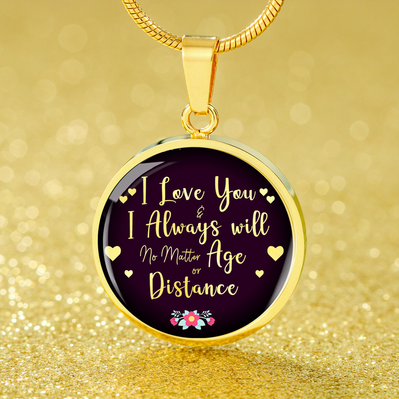 Express Your Love Gifts I Love You and I Always Will Circle Necklace Pendant Luxury Necklace (Gold) / No
