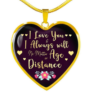 Express Your Love Gifts I Love You and I Always Will Heart Pendant Love Gift Necklace Luxury Necklace (Gold) / No
