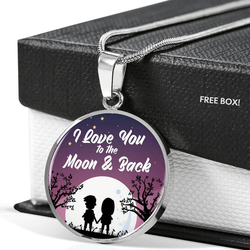Express Your Love Gifts I Love You to the Moon & Back Love Circle Pendant Necklace Gift