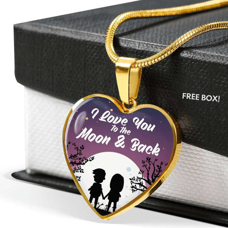 "I Love You to the Moon & Back Love Stainless Steel Or 18k Gold Heart Pendant Necklace 18""-22"" - Express Your Love Gifts"