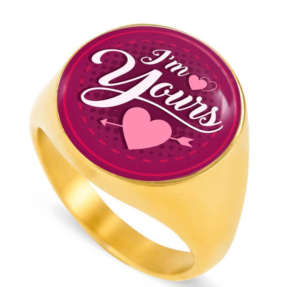 Express Your Love Gifts I'm Yours 18k Gold Finish Circle Signet Ring w Free Luxury Gift Box Size 4