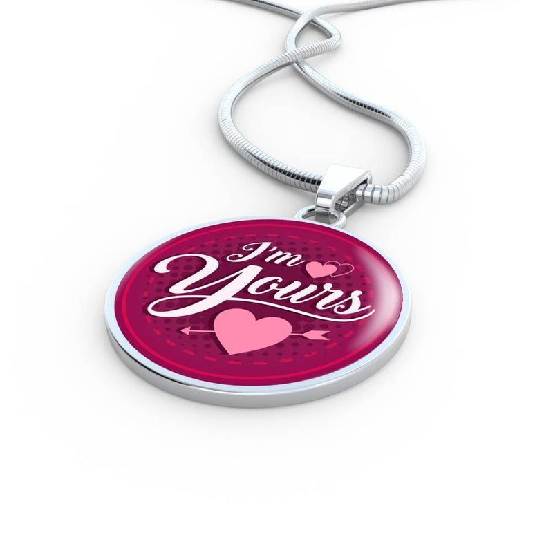 Express Your Love Gifts I'm Yours Circular Pendant Necklace Luxury Necklace (Silver) / Yes