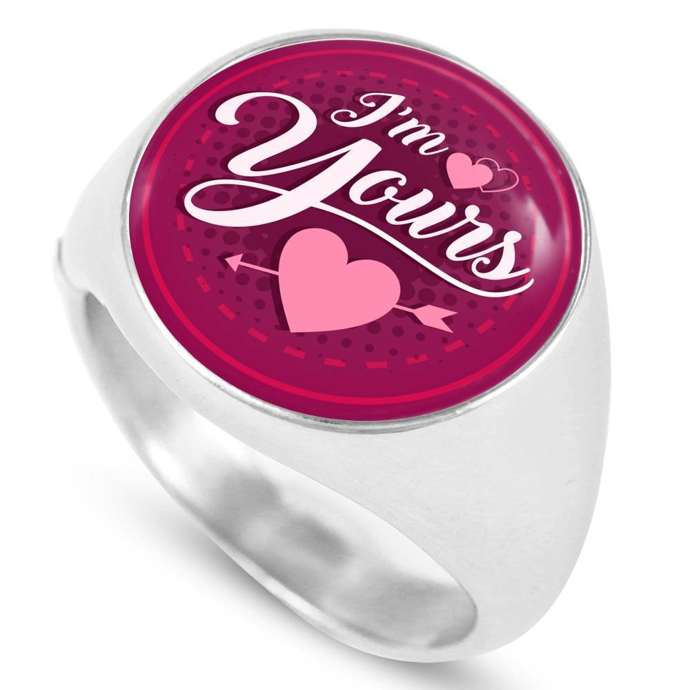 Express Your Love Gifts I'm Yours Stainless Steel-Silver Tone Bible Verse Circle Signet Ring w Free Luxury Gift Box Size 4