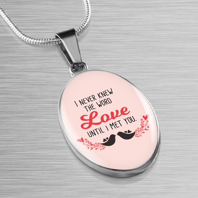 Express Your Love Gifts I Never Knew the Word Love Until I Met You Oval Pendant Necklace Luxury necklace w/ adjustable snake-chain