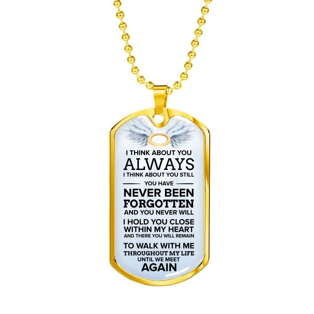 "I Think About You Always Necklace Stainless Steel or 18k Gold Dog Tag w 24"" Chain - Express Your Love Gifts"