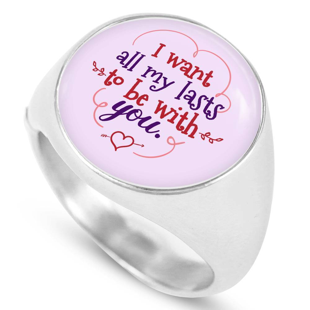 Express Your Love Gifts I Want All My Lasts To Be With You Stainless Steel-Silver Tone Bible Verse Circle Signet Ring w Free Luxury Gift Box Size 4