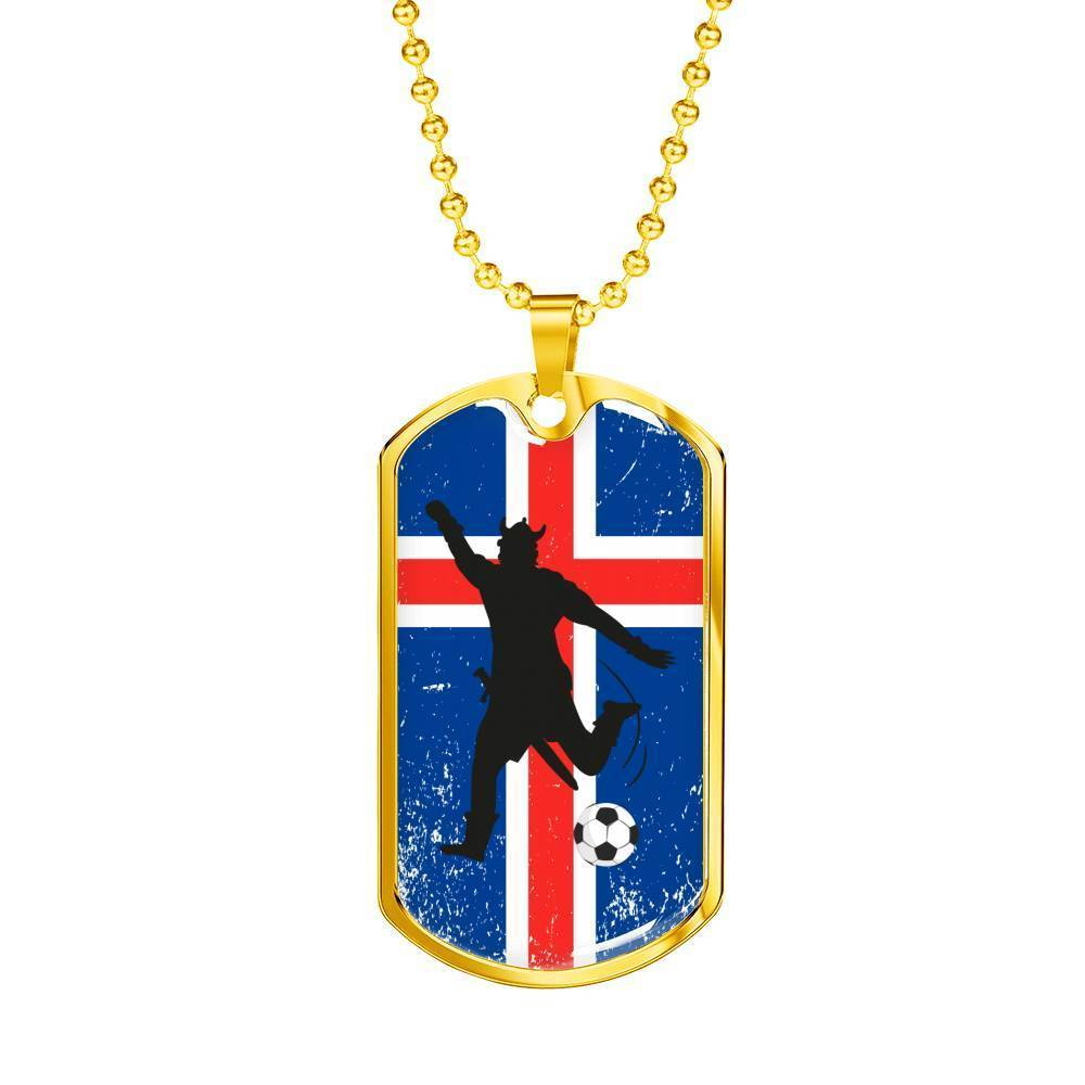 "Iceland Flag and Soccer/Futbol Necklace Stainless Steel or 18k Gold Dog Tag w 24"" Chain - Express Your Love Gifts"