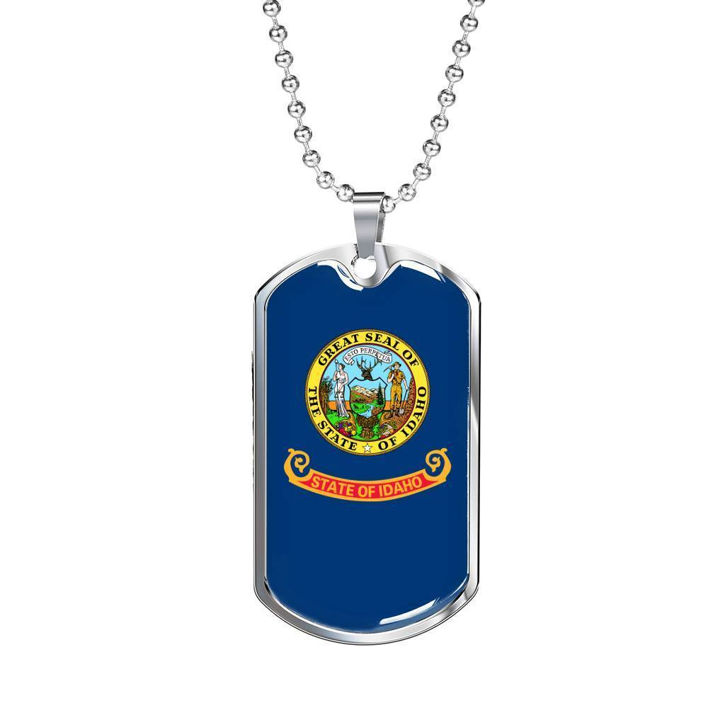 "Express Your Love Gifts Idaho Flag Handmade Pendant Stainless Steel or 18k Gold Military Dog Tag Necklace w 24"" Ball Chain Military Chain (Silver) / No"