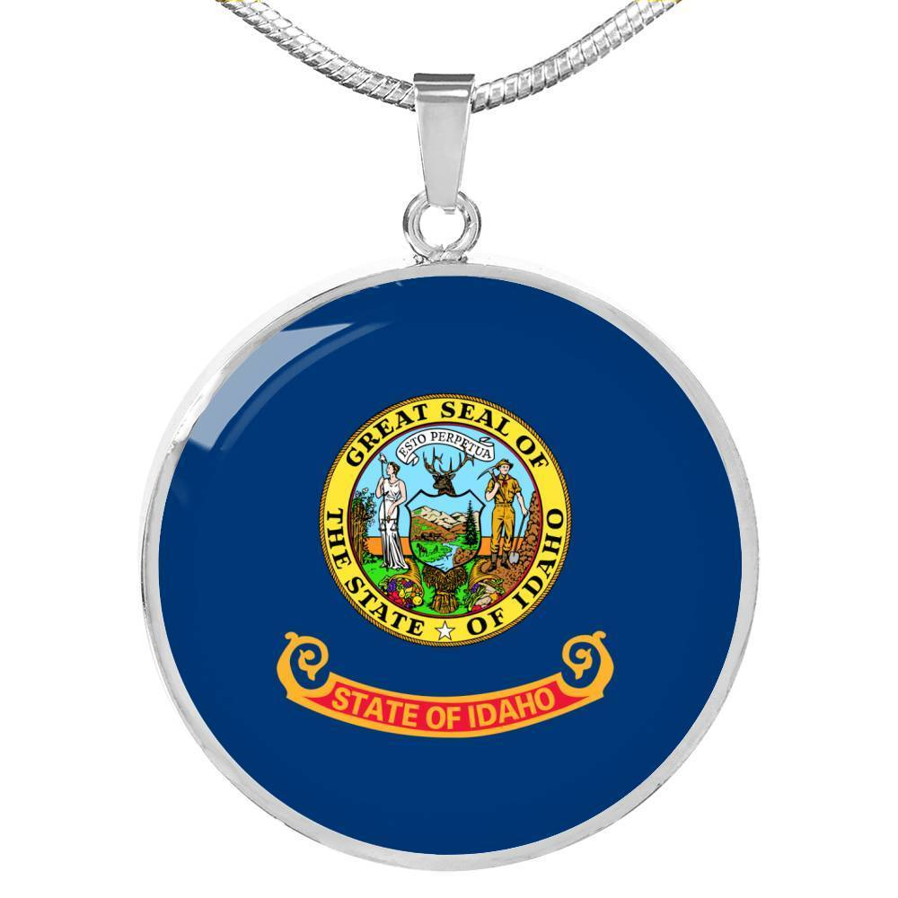 "Idaho State Flag Necklace Stainless Steel or 18k Gold Circle Pendant 18-22"" - Express Your Love Gifts"