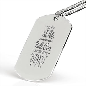 "If Life knocks you Down Inspirational Encouragement Quote Necklace Stainless Steel Dog Tag w 24"" Ball Chain Express Your Love Gifts"