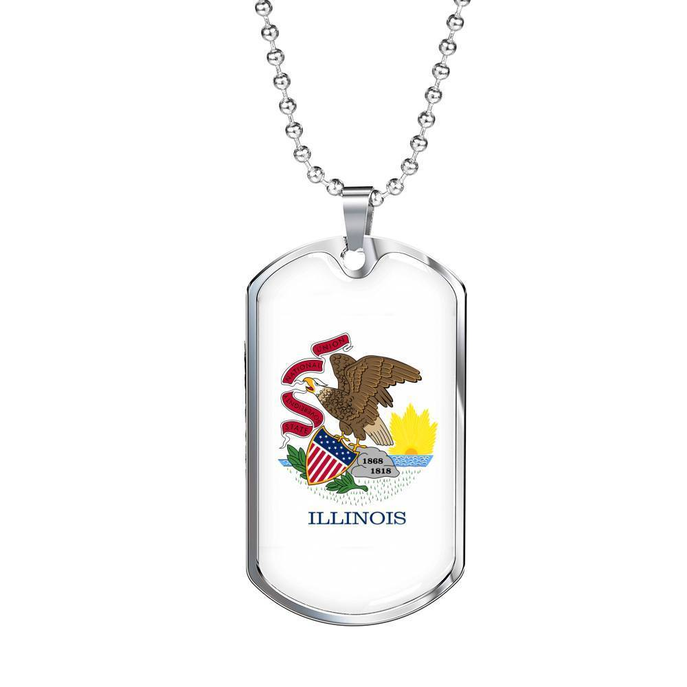 "Express Your Love Gifts Illinois Flag Handmade Pendant Stainless Steel or 18k Gold Military Dog Tag Necklace w 24"" Ball Chain Military Chain (Silver) / No"