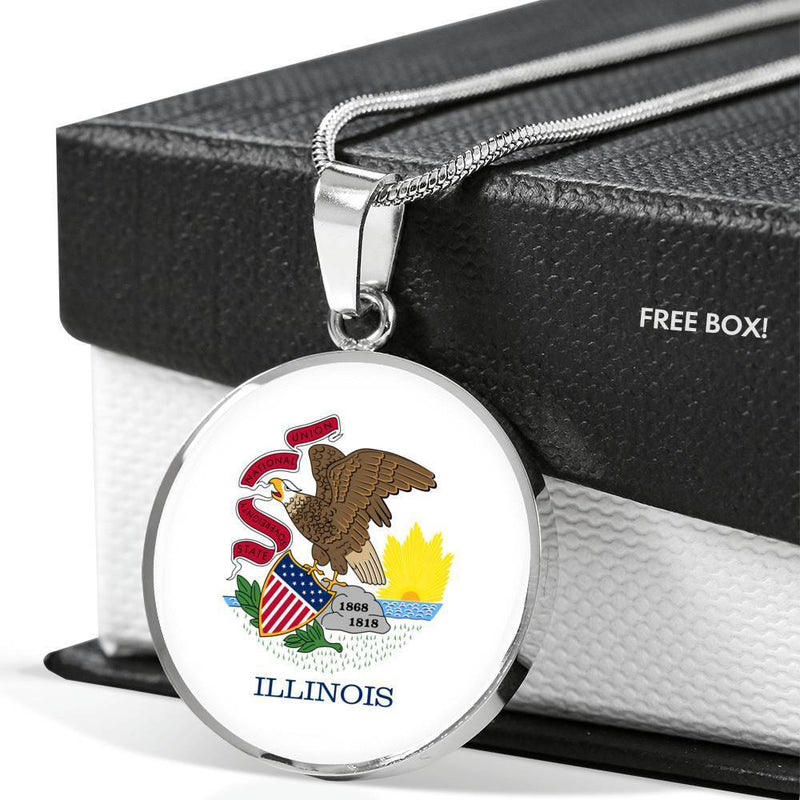 "Illinois State Flag Necklace Stainless Steel or 18k Gold Circle Pendant 18-22"" - Express Your Love Gifts"