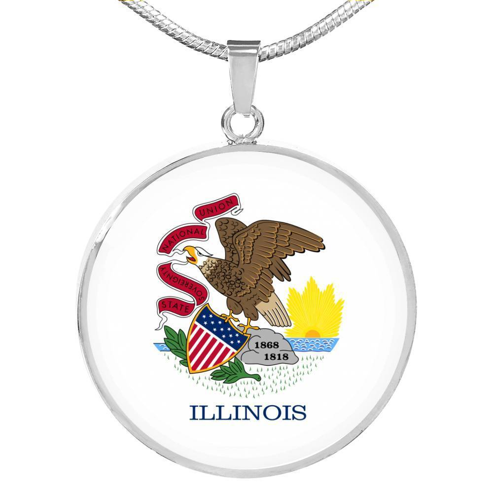 "Express Your Love Gifts Illinois State Flag Circle Pendant Stainless Steel or 18k Gold Finish Necklace Adjustable 18""-22"" Luxury Necklace (Silver) / No"